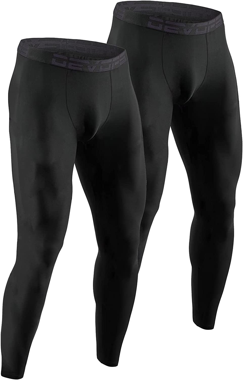 DEVOPS Men's Thermal Underwear Pants, Athletic Leggings Base Layer Bottoms (2 Pack)