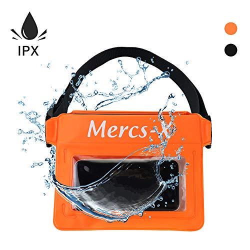 Mercs-X 防水ポーチ 防水バッグ ウエストバッグ 防水ケース ボディーバッグ ベルト調節可能 ショルダーバッグ 防水 防塵 スマホ 小物入れ アウトドア 海 プール アウトド アオレンジ