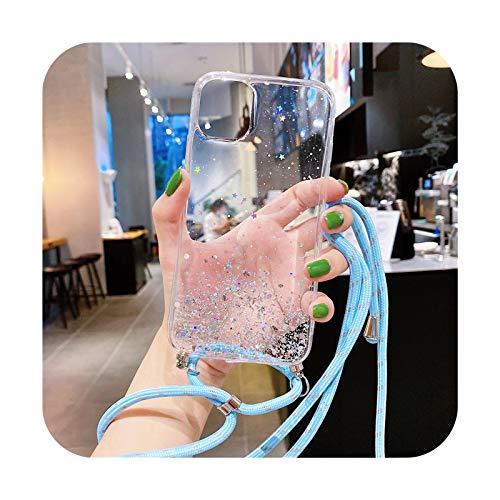 Transparente brillo correa cadena collar cordón cordón suave teléfono caso para iPhone 12 Pro Max MiNi 11 Pro XS XR X 7 8 Plus 6 SE 20-L para iPhone 12 Pro
