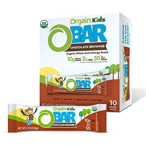 Orgain Organic Kids Energy Bar, Chocolate Brownie - Great for Snacks, Vegan, 7g Dietary Fiber, Dairy Free, Gluten Free, Lactose Free, Soy Free, Kosher