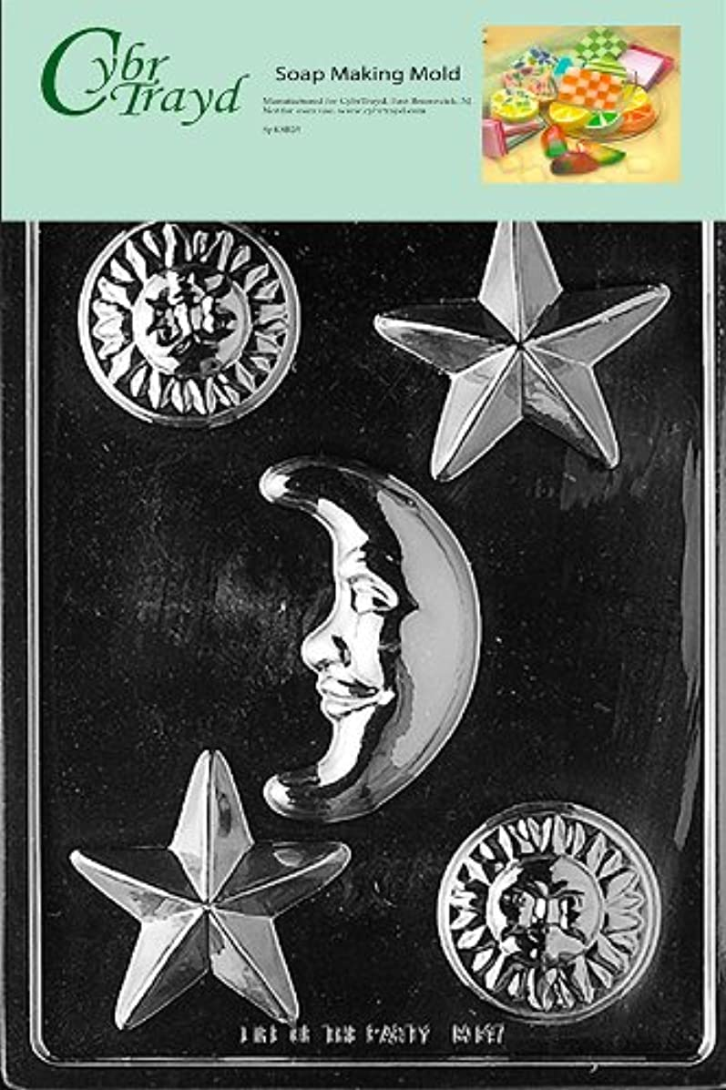 Cybrtrayd Celestial Assortment Soap Mold with Exclusive Cybrtrayd Copyrighted Soap Molding Instructions