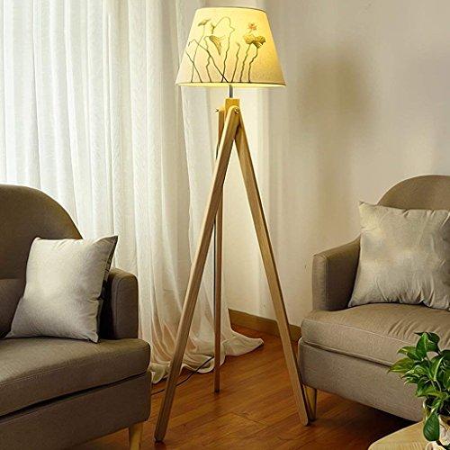 DSJ staande lamp massief houten vloerlamp woonkamer slaapkamer bedlampje eenvoudige moderne verlichting creatieve massief houten lamp verticale lamp