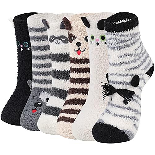 CACAZI 6 Paare Weihnachtssocken Damen Kuschelsocken Flauschige Socken Weihnachten Socken Lustige Winter Warme Bettsocken Adventkalender Socken Christmas Wichtelgeschenk Geschenk für Frauen Damen