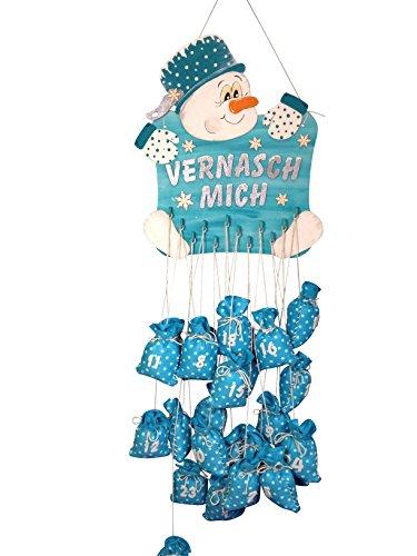 Petra's Bastel News Bastelset für Adventskalender Schneemann inkl. Holzteile, Adventskalenderzahlen aus Filz, Holz, Holzfarben, 22 x 32 x 11 cm
