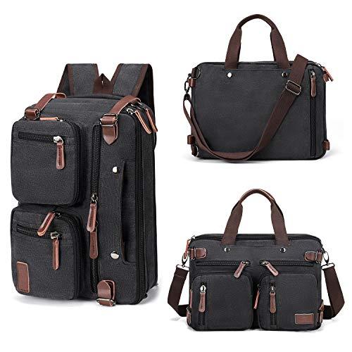 Fresion Umhängetaschen Herren, Laptoptasche oder Schultasche - Canvas Vintage Umhängetasche wandelbar in einen Rucksack,15,6-Zoll Laptop Business Tasche für Arbeits Büro, Schwarz