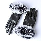 LYDIANZI Guantes de invierno de las mujeres, las mujeres guantes de cuero de invierno caliente del otoño de imitación de piel de conejo guantes mitones, Finger impermeable a prueba de viento puños pan