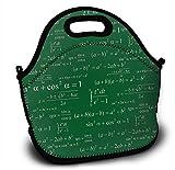 Mochila de neopreno para niños con función trigonométrica, fórmula matemática, color verde, con correa de hombro ajustable para niños y niñas