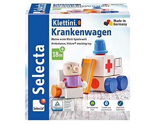 Selecta 62081 Krankenwagen, Flieger, Klett-Stapelspielzeug aus Holz, 7 Teile