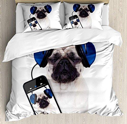 Funda nórdica con conjunto Pug, Música para perros en teléfonos inteligentes Auriculares Groovy Cool Imagen divertida de animales, Juego de cama decorativa de 3 piezas con 2 fundas de almohada, Azul m