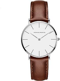 Hannah Martin レディース ファッション スリム シンプル アナログ腕時計 日本製クォーツムーブメント 30m防水 大型アナログ文字盤 Brown-silver