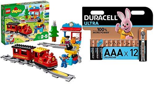 LEGO Duplo Treno a Vapore, con Locomotiva Push And Go e 5 Mattoncini Multifunzione, Set di Costruzioni per Bambini dai 2 ai 5 Anni, 10874 + Pacco Pile