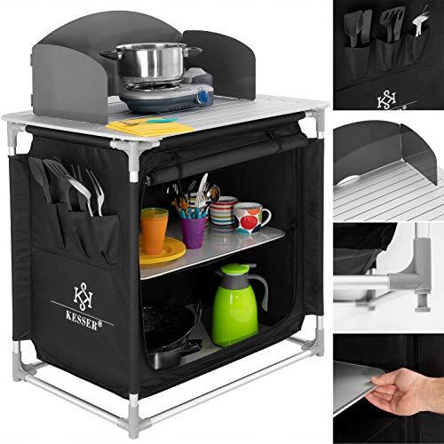 Kesser® Campingschrank, Campingküche mit Aluminiumgestell, Spritzschutz und Tragetasche Kocherschrank für Camping, Campingmöbel, Outdoor, schwarz/grau Typ F2