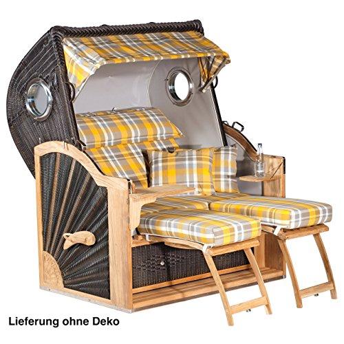 Sonnenpartner Strandkorb Diplomat Teak XL 3/4 Liegemodell cafébraun Oxford gelb