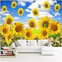 3Dの壁紙写真壁紙 青空白い雲ひまわり カスタム壁画 リビングルームテレビソファの家の装飾 -280x200cm/110x79inch