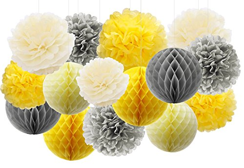 Furuix 15pcs Yellow Grey Elephant Baby Shower Decorations Tissue Paper Pom Pom Tissue Paper Gray and Yellow Nursery Decor/Bridal Shower Birthday Decorations/You are My Sunshine Party Decor