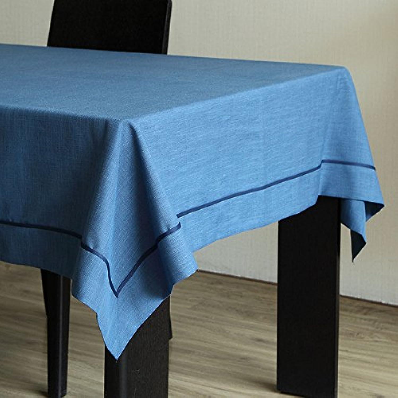 moda RUGAI-UE Mantel tejido simple moderna mesa mesa mesa de lino de Color puro Mantel fresco,amor puro - azul oscuro,140140cm.  punto de venta en línea