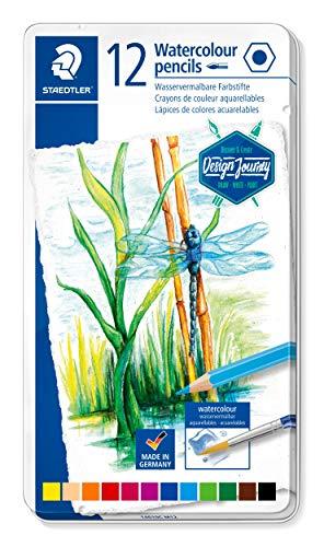 Staedtler Crayons de couleur aquarellables de haute qualité pour artistes, Utilisables à sec ou à l'eau, Mine douce et tendre de 3 mm, Boîte en métal avec 12 couleurs différentes assorties, 14610C M12