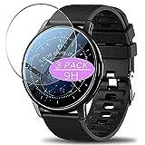 3枚 VacFun ガラスフィルム , LEMFO LF28 1.3インチ スマートウォッチ Smart Watch 向けの 強化ガラス フィルム 保護フィルム 保護ガラス ガラス スマートウォッチ と互換性のある 液晶保護フィルム 腕時計