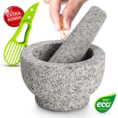 Mortar and Pestle Set Made of 100% Granite Large Natural Guacamole Bowl for Kitchen Make and Serve Dishes Right at The Table Beautifully Includes Avocado Slicer Unpolished Granite