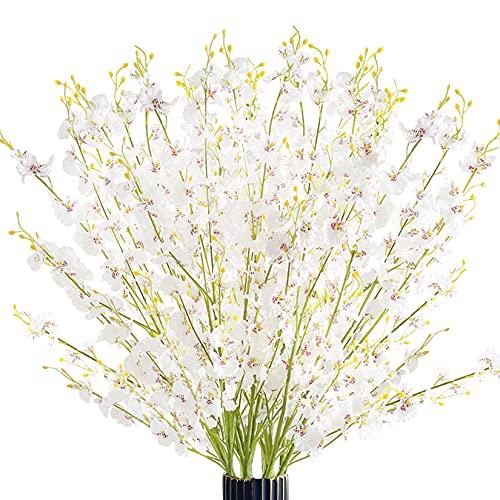 FgusHome 16 Piezas Flores de orquídeas Artificiales Flores de Orquídeas Falsas 40 Pulgadas Largo Bailarinas Orquídea Seda...