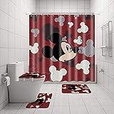 4 Stück Mic-Key Maus Duschvorhang Set mit Anti-Rutsch Teppichen, WC-Deckelbezug & Badematte, Wasserdicht & Langlebig Duschvorhänge mit 12 Haken, Haltbarer Badvorhang für Badezimmer