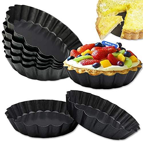 8 piezas de 4 pulgadas Mini Tarta Pan,Sartén Quiche antiadherente,Bandeja de Tarta con parte inferior extraíble, bandeja antiadherente para pasteles, Quiche