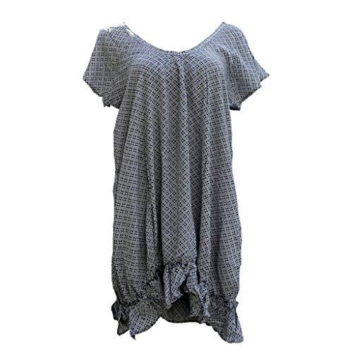 Induswelt Damen Kleid Sommerkleid mit Taschen Oversize Look Strand Kleider (M (40/42))