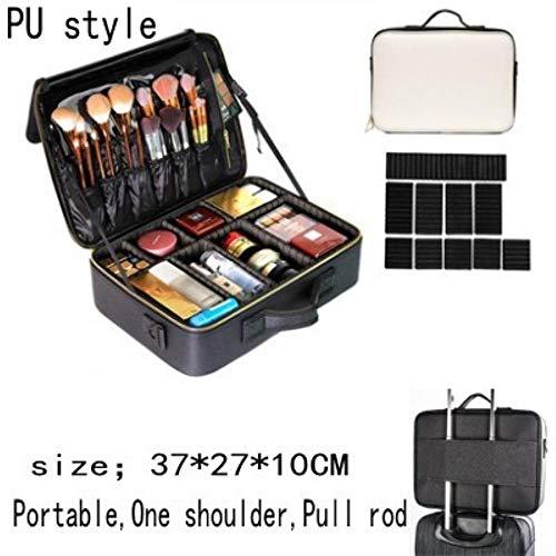 FXC PU Lederen Professionele Lege Make-up Organizer Cosmetische Case Reizen Opbergtas Koffers, 2-laags stijl PU