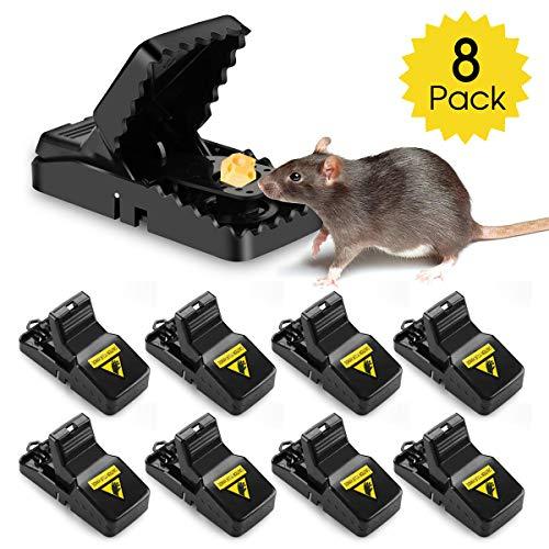 AODOOR Mausefalle, Mäusefalle Effiziente, Schlagfalle Wiederverwendbar, Mausefalle schlagfalle Einfaches Aufstellen, Rattenfalle sofort einsatzbereit, Profi Mäusefalle - 8er Set