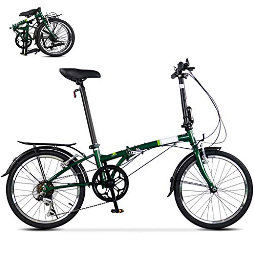 TYXTYX 20 Zoll Klapprad, Falt-Fahrrad 6-Gang Kettenschaltung mit Gepäckträger,leichtes Mini-Faltrad, kleines tragbares City-Falt-Mini-Kompaktfahrrad,Grün
