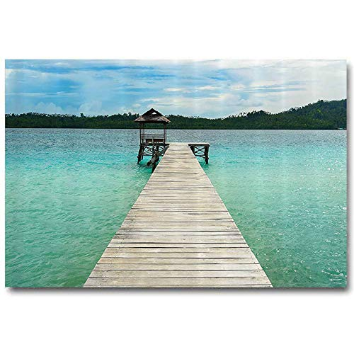 House Decor Collection Black Wall Decor Wooden Deck in Indonesian Island with Fresh Sky and Sea Forest Exotic Dream Land View for mom Turquoise Brown L30 x H60 Inch