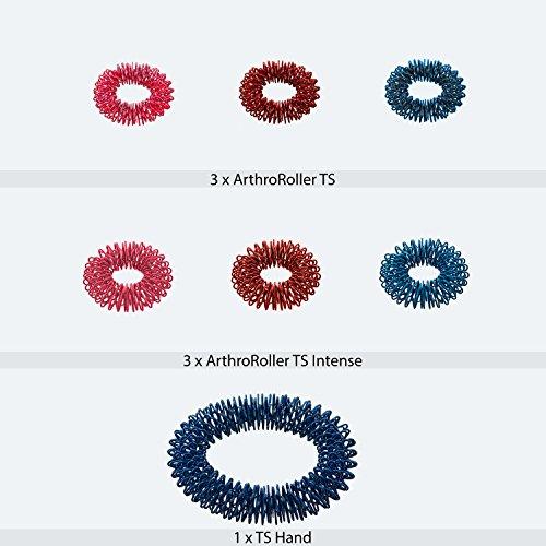 Massageringe Yin Yang - zur Fingermassage oder Zehenmassage aus Edelstahl | 7 Ringe | Mix-Tüte mit verschiedenen Stärken, Durchmessern und Farben | ArthroRoller