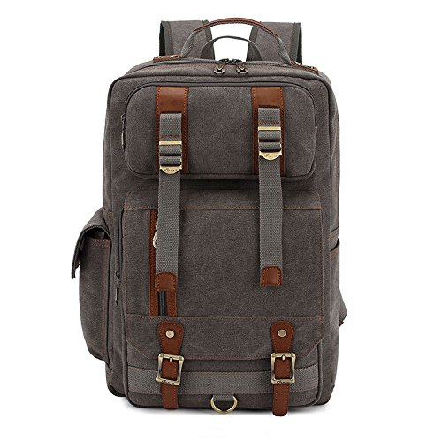Starcrafter modo dell'annata Canvas Zaino casual, Laptop Zaino, College School Borse, sacchetto di spalla per di campeggio d'escursione di viaggio (Grigio)