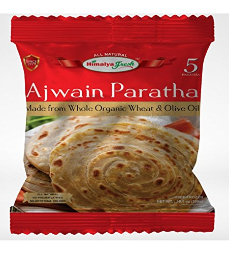 HIMALYA FRESH Ajwain Paratha (5 Bags, 5 Pieces Each Bag) - Premium Authentic Indian Food Bread Made With Made With Organic Wheat And Olive Oil - No Fillers Or Preservatives