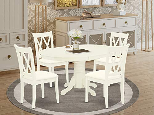 East-West Furniture AVCL5-LWH-C mid-century dining table set- 4 Excellent wooden Chairs - A Wonderful dining table- Microfiber Upholstery seat and Linen White Finnish Butterfly Leaf kitchen table