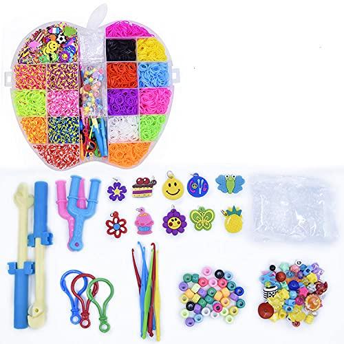 SMYUI Kit de fabricación de pulseras de amistad con banda de telar de goma, para fiestas, Navidad, regalo de cumpleaños para niños (modelos de Apple 5,000)