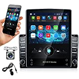9.7 inch Android Car Stereo Vertical Touchscreen Car Radio Tesla Style Double Din Stereo with GPS WiFi Bluetooth FM Radio Support Mirror Link, with Dual USB & Backup Camera + External Microphone