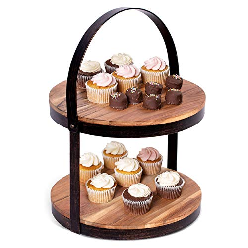 BIRDROCK HOME 2-Tier Cupcake and Cake Stand with Handle - Wood Iron Dessert Serving Tray - Rustic Farmhouse Dessert Stand - Modern Party Tiered Server - Table Kitchen Home Display - Round
