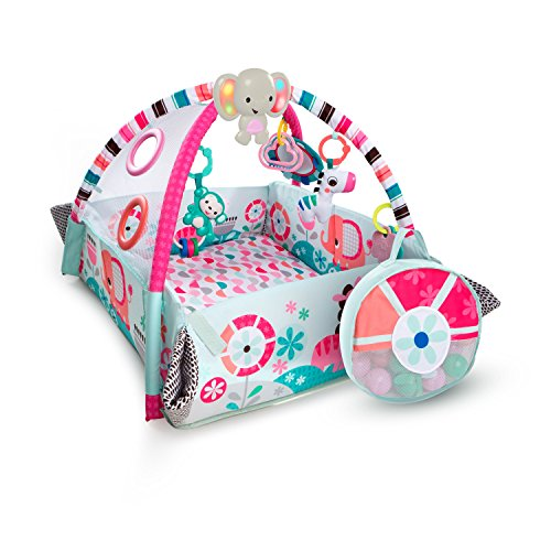 Bright Starts 5-in-1 Rounds of Fun Activity Gym & Ball Pit, Ages Newborn + Pink