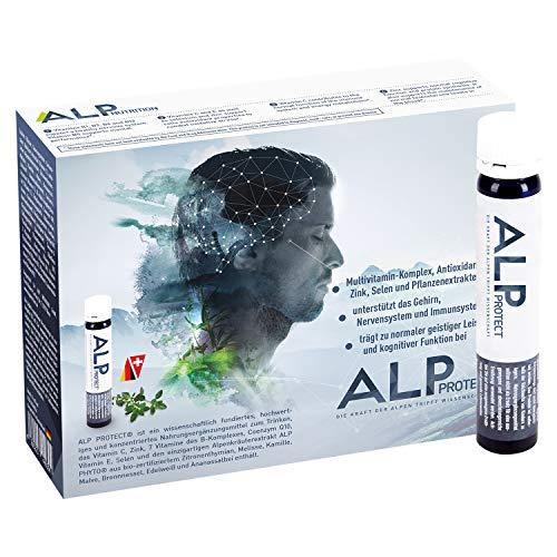 ALP PROTECT Multivitamin Coenzym Q10 Selen Zink Vitamin C E B Komplex Immun Boost Trinkampullen 14x25 ml Brain Booster & Immunsystem stärken für Erwachsene