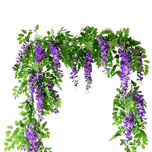 Enredaderas de glicina Artificiales, Flores de Seda Falsas Que cuelgan guirnaldas Artificiales...