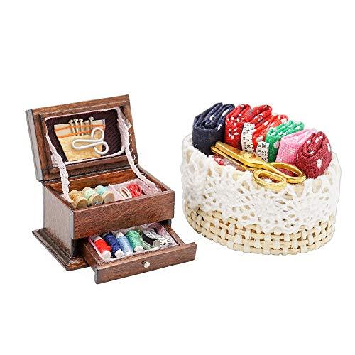 Odoria 1/12 Miniatura Caja de Coser y Cesta de Costura Decorativo para Casa de Muñecas