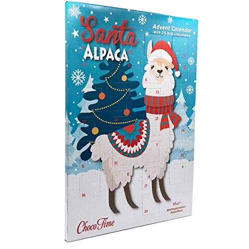 Santa Alpaka Adventskalender Milchschokolade Lama Alpaca mit 25 Schokotäfelchen (65g)