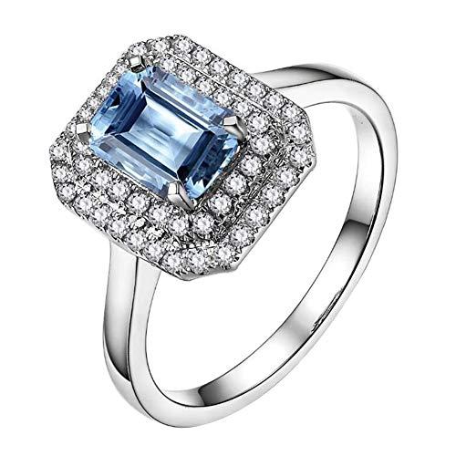 Brillante Bellissimo Mare blu Pietra preziosa Acquamarina 585/1000 (14 carats) 14K Oro bianco Diamante Fidanzamento Nozze anello