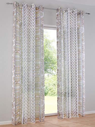 heine home Set Vorhang Dekostore Bedruckt Offwhite/Taupe HxB 245x140 cm