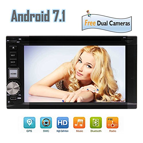"Best WiFi Model Android 7.1 Octa-Core 6.2"" Full Touch-Screen Universal Car DVD CD Player 2 Din Stereo GPS Navigation with Built in Bluetooth 2GB RAM 32GB ROM, Front&Backup Camera Included!!"