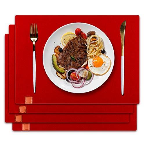 homeasy Platzdeckchen Rot Filz Tischuntersetzer Abwischbar 4er Tischset Abstellen von Tellern, Tassen und Gläsern für Zuhause Restaurant Speisetisch