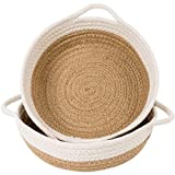 INDRESSME 2pack Cotton Rope Basket-Woven Storage Basket-9.8'x 8,7' x 2,8'Small Rope Baskets for Kids Home Decor Toy Basket Organizer-Desk Basket Container for Jewellery, Keys-Hemp Rope Bowl