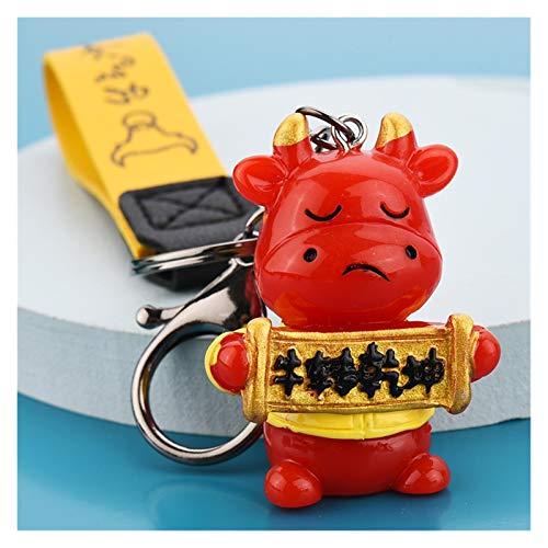 Hjdmcwd Llavero 2021 New Zodiac Ox Keychain Red Bull Llavero NIU se Presenta al Año Universo del Adorno de Coche Ox (Farbe : 2)