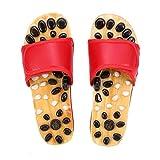 Zapatos De Madera For Masaje, Zapatos Antideslizantes For El Cuidado De La Salud, Adoquines Naturales, Ombligo, Pie, Acupresión, Zapatillas (Color : Red, Size : 41)